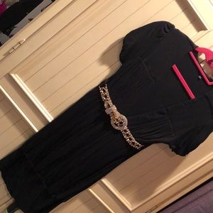 Black sky dress with crystal belt